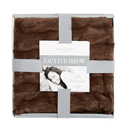 Sanctuary Solid Soft Luxurious Cozy Faux Fur Throw Blanket Chocolate Walmart Com Walmart Com
