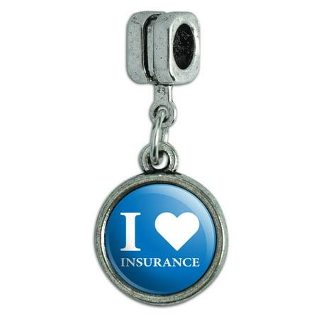 I Love Insurance Italian European Style Bracelet Charm (Lover Italian Charm)