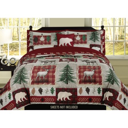 Rustic Lodge Deer - Bear Lodge Deer Elk Rustic Cabin Full/Queen Comforter 4 Piece Bedding Set Embroidered Pillow