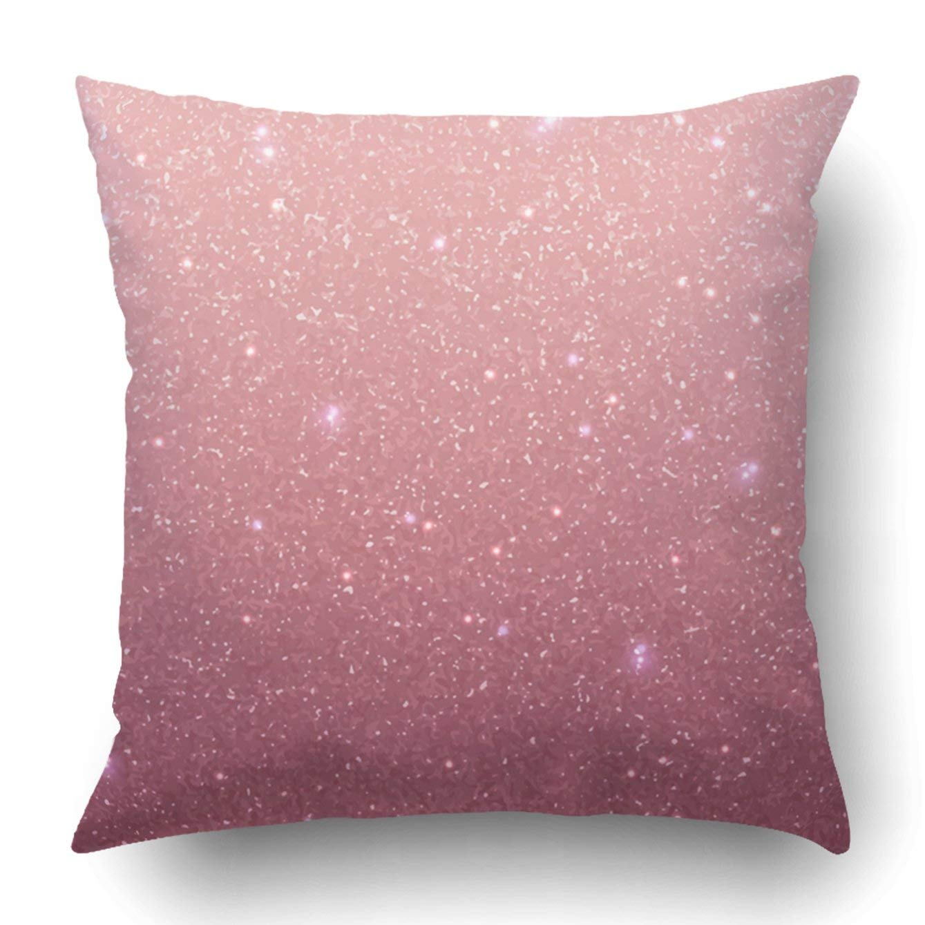 WOPOP Rose gold glitter texture Rose sequins Pink sparkle pattern Pillowcase Throw Pillow Cover Case 16x16 inches