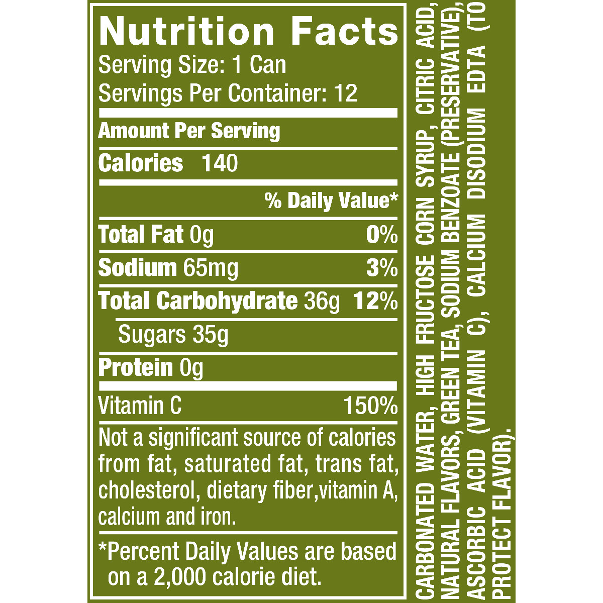 Lyfe Kitchen Nutrition: Vernors Ginger Ale Nutrition Facts