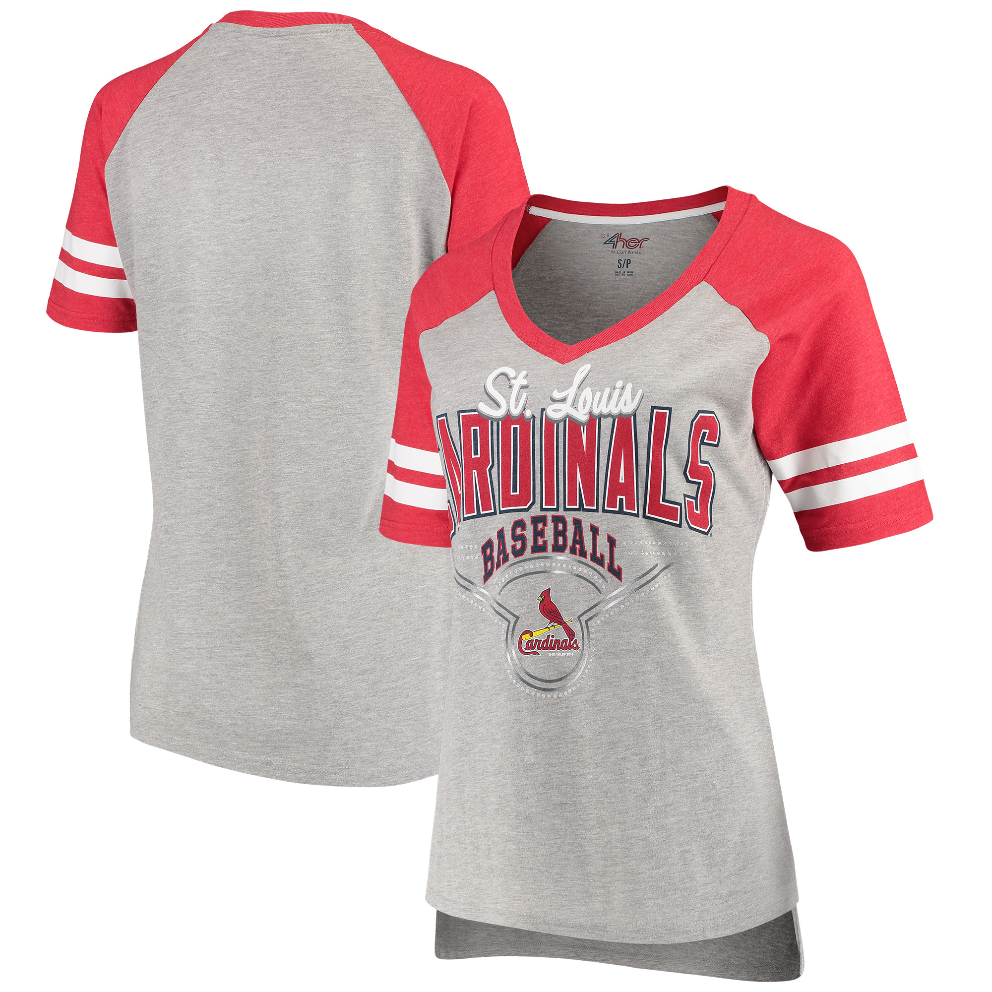 St. Louis Cardinals G-III 4Her by Carl Banks Women's Goal Line T-Shirt - Heathered Gray/Red