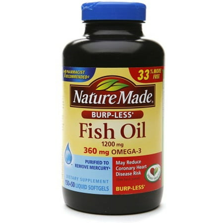 Nature made burp less fish oil 1200mg 360mg omega 3 for Omega 3 fish oil liquid