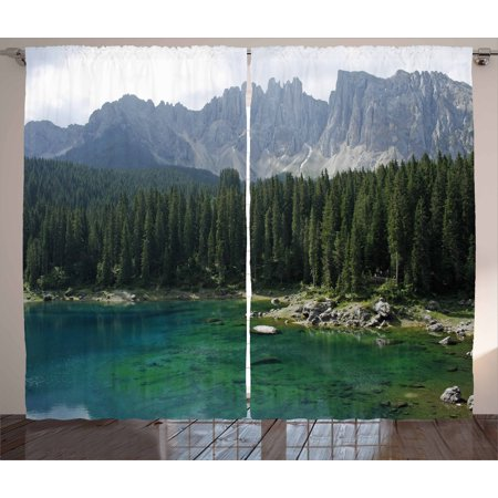 Nature Curtains 2 Panels Set, Aerial View of Pine Forest by the Lake beneath Mountain Pastoral Landscape, Window Drapes for Living Room Bedroom, 108W X 84L Inches, Dark and Jade Green, by Ambesonne