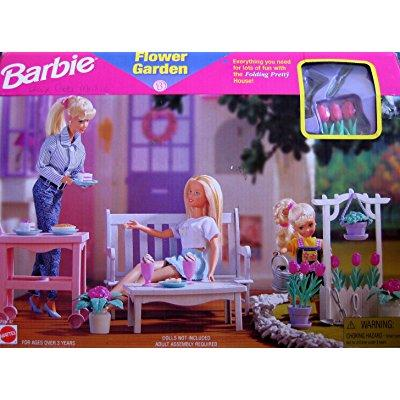 Barbie Flower Garden Playset Folding Pretty House (1997 Arcotoys, Mattel) by