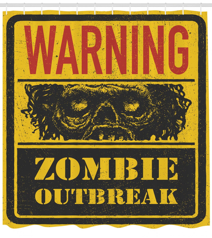 Zombie Decor Shower Curtain, Warning Outbreak Horror ...
