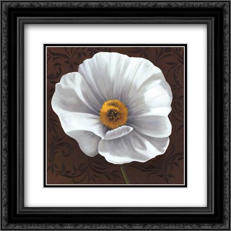 White Poppies I 2x Matted 20x20 Black Ornate Framed Art Print by Gray, Jordan](Gray And White Jordans)