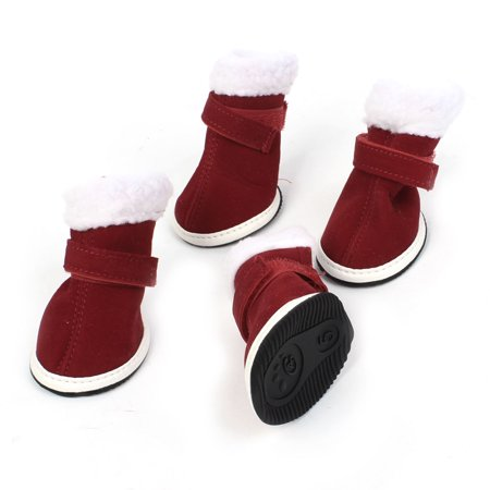 Unique Bargains 2 Pairs White Plush Brim Burgundy Christmas Pet Doggie Shoes Boots Booties XS