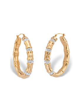 a5140b64c Product Image Round Crystal Bamboo Oval Hoop Earrings in 14k Yellow Gold  Nano Diamond Resin-Filled 1. Palm Beach Jewelry