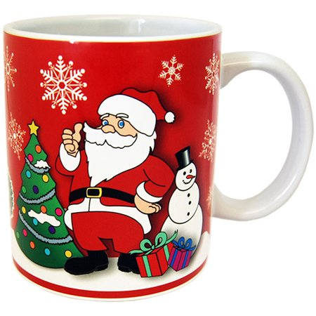 Christmas Holiday 11 oz Double Sided Ceramic Coffee Mug- Featuring Santa, Christmas Tree,Presents and a Cute - Christmas Mugs