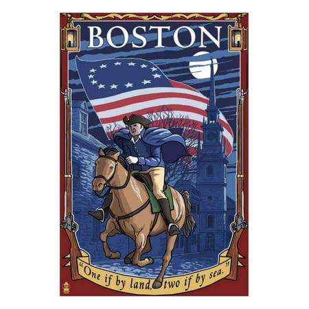 Old North Church and Paul Revere - Boston, MA Print Wall Art By Lantern Press (Church Boston Halloween Party)
