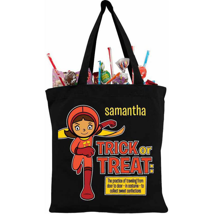 Personalized WordGirl To The Rescue Black Trick-Or-Treat Bag