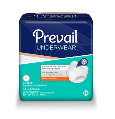 Prevail Extra Underwear, EXTRA LARGE, Pull On, Moderate Absorbency, PV-514 - Case of 56