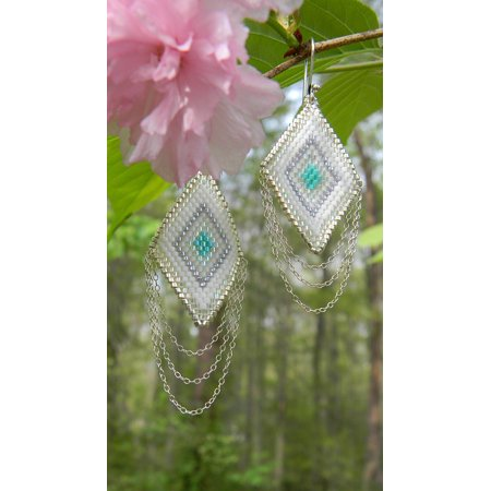 - Laminated Poster Triangle Sterling Silver Seed Beads Earrings Woven Poster Print 24 x 36
