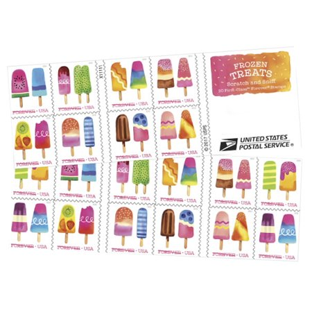 Frozen Treats Book of 20 USPS First Class Postage Stamp Scratch and Sniff Frosty, Colorful, Icy Pops on a Stick Celebration Wedding(20 Stamps)