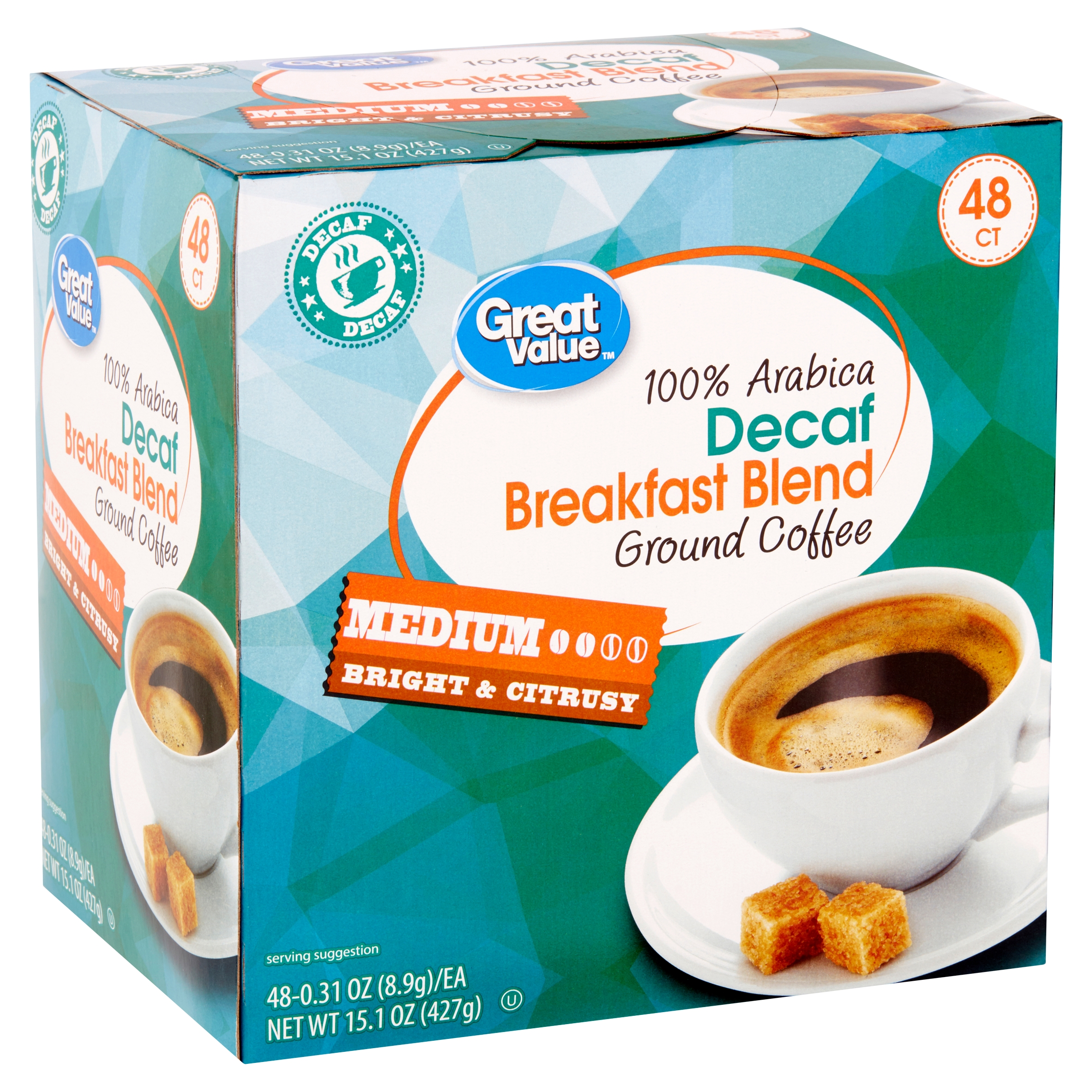 Great Value 100% Arabica Decaf Breakfast Blend Medium Ground Coffee, 0.31 oz, 48 count