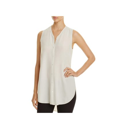 Eileen Fisher Womens Silk Crepe Button-Down Top Taupe XXS