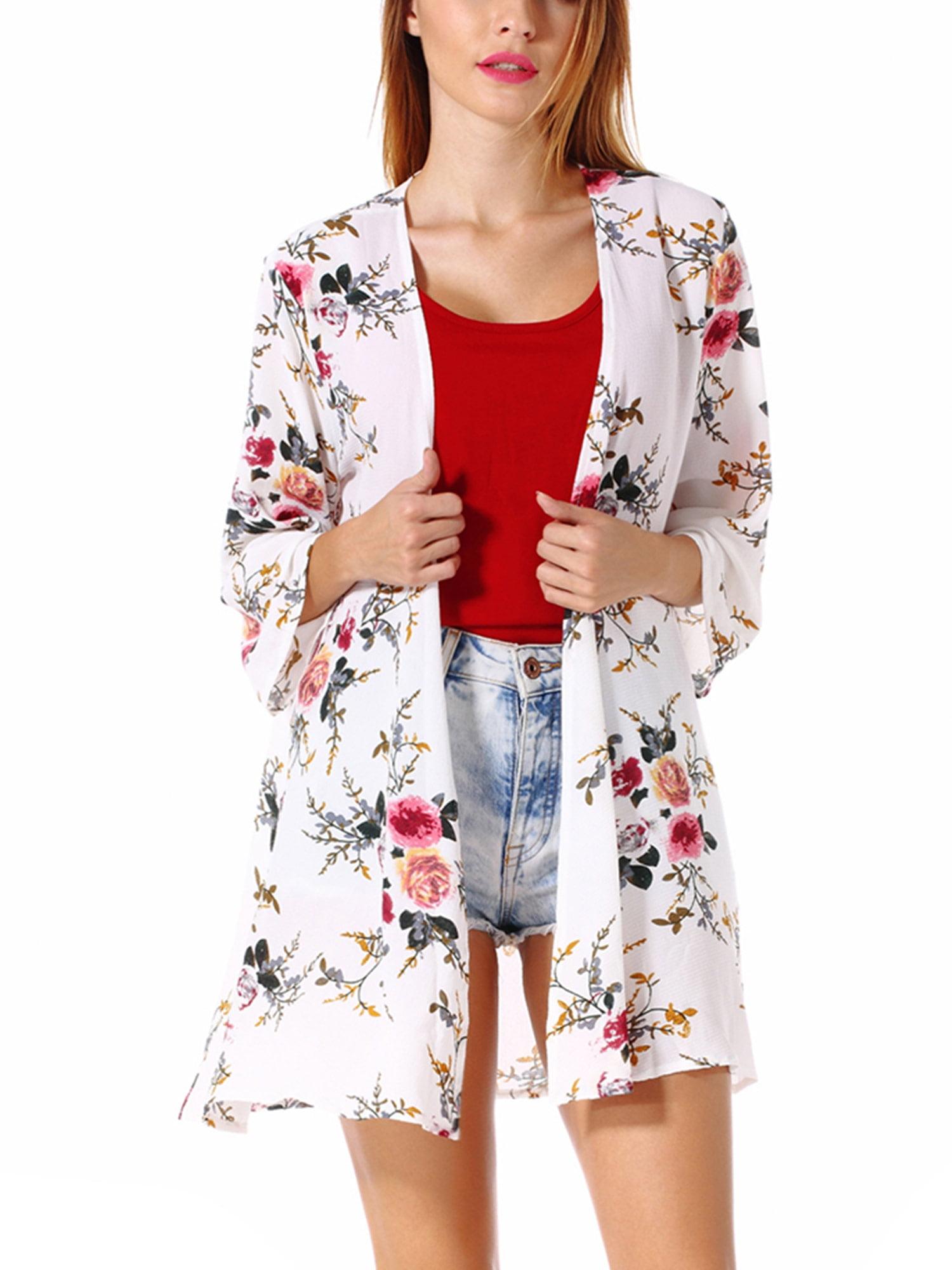 Plus Size Women's Kimono Cardigan Coat Blouse Tops Floral Print Half Sleeve Casual Cardigan Beach Cover up