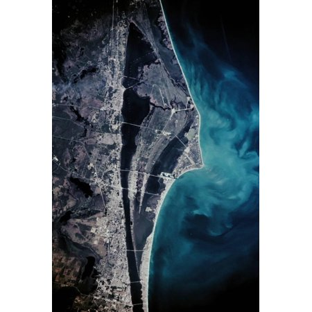 Satellite view of Cape Canaveral, Brevard County, Florida, USA Print Wall - Halloween Brevard County