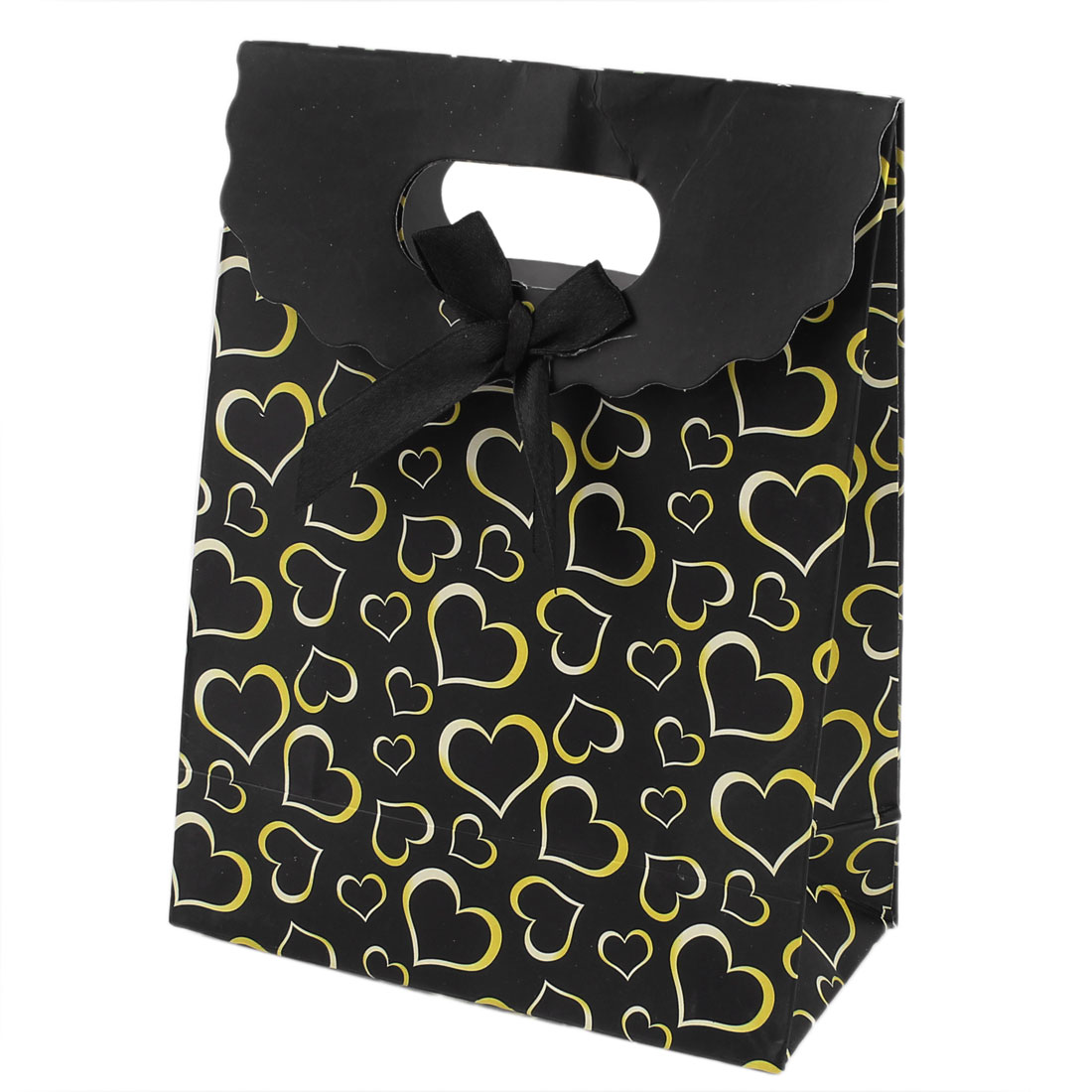 Yellow Black Heart Pattern Bowknot Decor Birthday Gift Paper Bag Holders