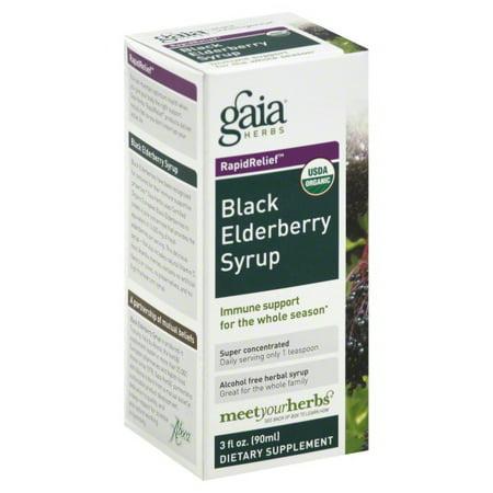 Gaia Herbs   Rapid Relief Immune Support Black Elderberry Syrup   3 Oz