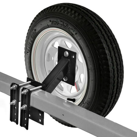 Spare Tire Carrier for Boat and Utility Trailer Spare Tire Mount Fits 4 or 5 Lug Wheel No-Drill (Spare Tire Mounting)
