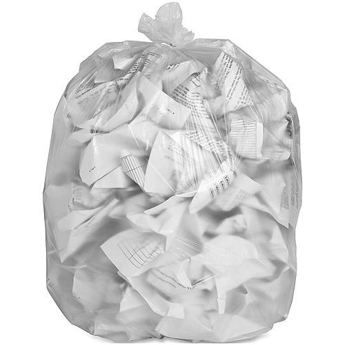 Genuine Joe High Density Trash Bags, Clear, 60 gal, 200 count