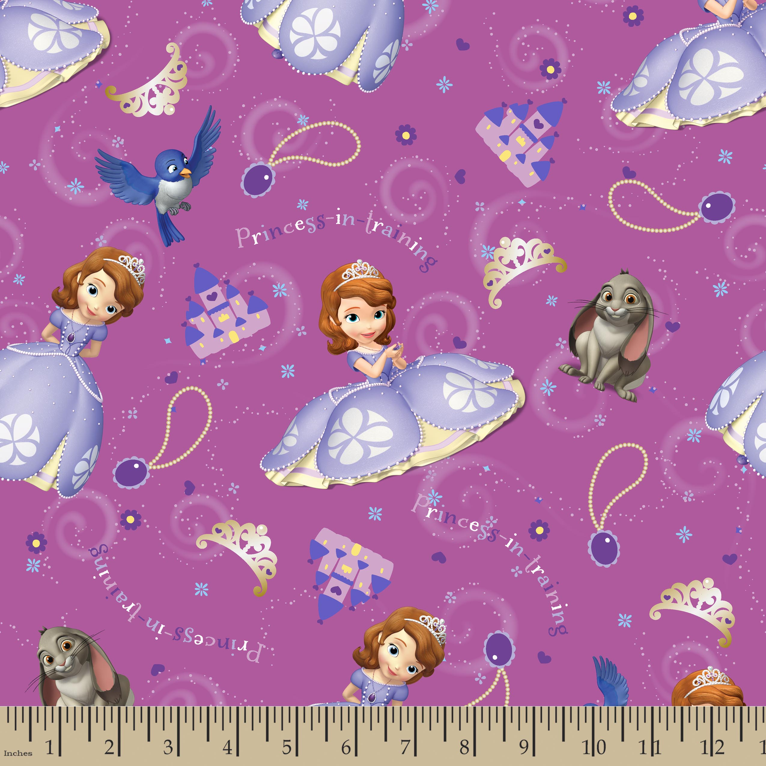 Disney Sofia The First and Friends Fabric by the Yard