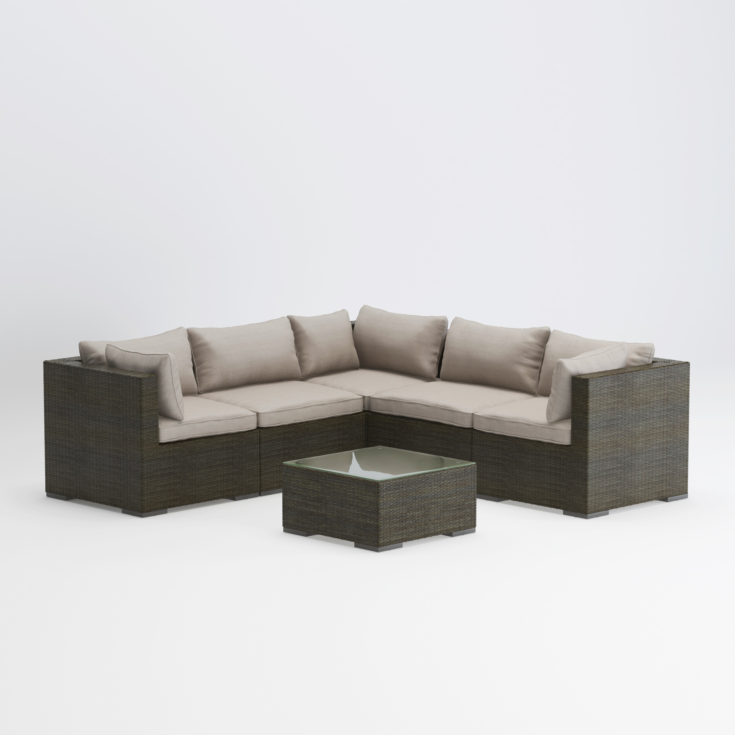 Balkene Home Sino Outdoor Patio Sectional Set in Resin Wicker with All Weather Cushions