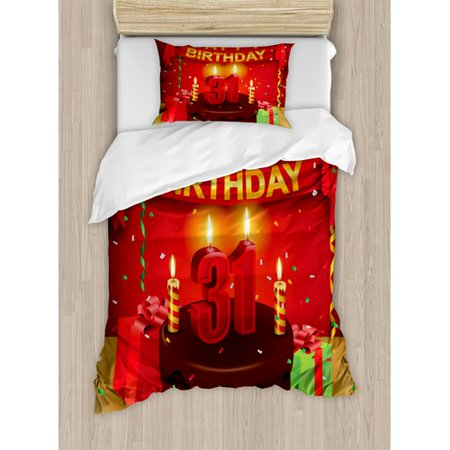 Ambesonne 31st Birthday Decorations Duvet Cover Set