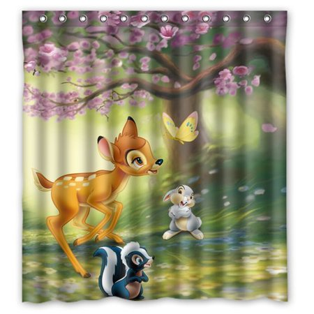 Ganma Cartoon Cute Deer Bambi Play In The Forest Design Shower Curtain Polyester Fabric Bathroom Shower Curtain 66x72 inches