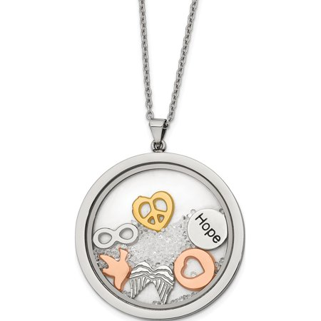 Stainless Steel Rose & Yellow Ip-plated Crystal & Charms 2in ext Necklace - image 1 of 2