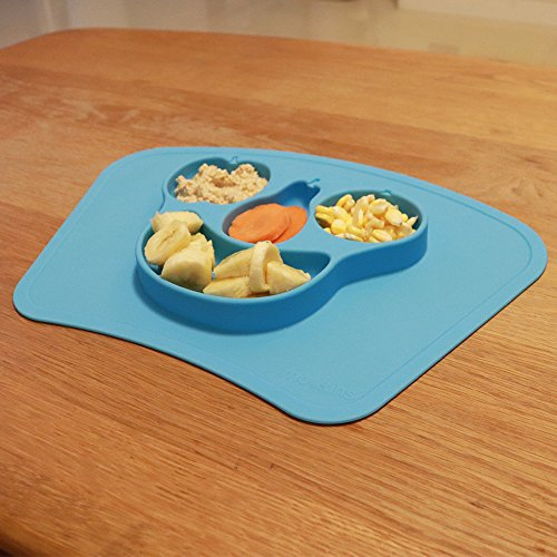 Mockins Mess Free Silicone Suction Baby Placemat With Bowl And Plate Is Safe For Children And All Kids And Toddlers Will Fit Most Highchair Feeding Tray In Your Kitchen Or Dining Table - Blue Fruit