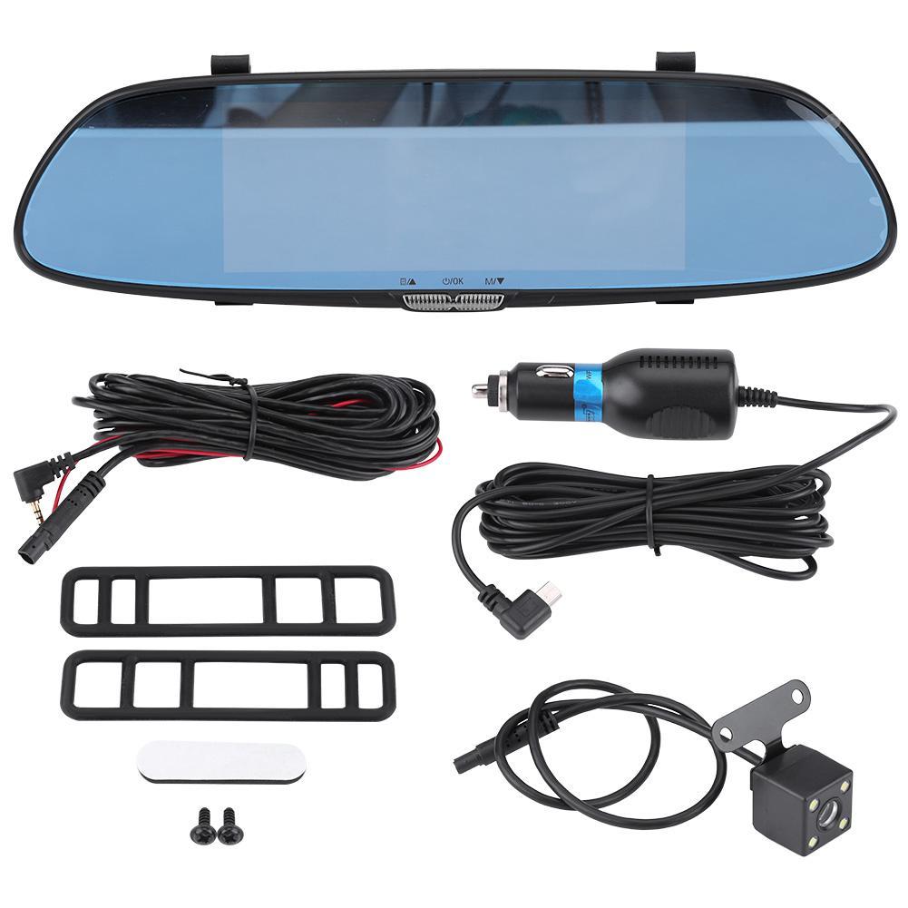 Yosoo 7inch 1080P HD Car DVR Dual Lens Camera Rear View Mirror Driving Video Recorder Night Vision, Car DVR Camera, HD Car DVR