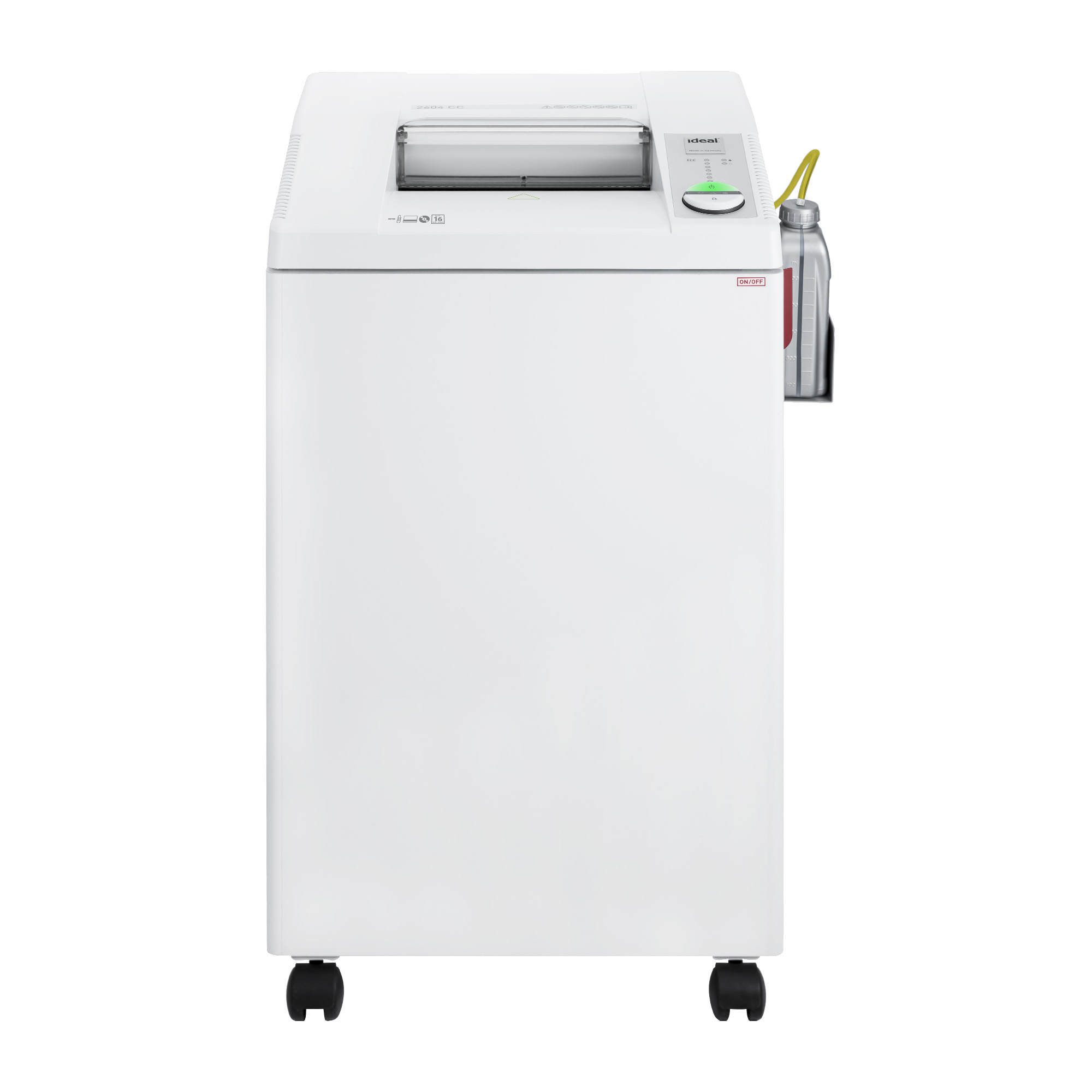 ideal.™ 2604 Continuous Operation Cross-Cut Centralized Office Paper Shredder with Automatic Oiler, 14–16 Sheet