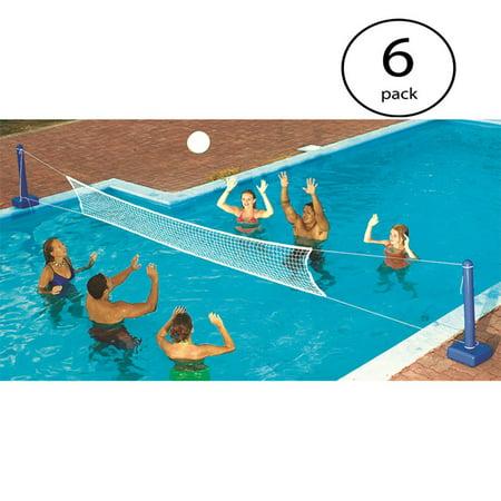 Swimline Cross Inground Swimming Pool Fun Volleyball Net Game Water Set 6 Pack