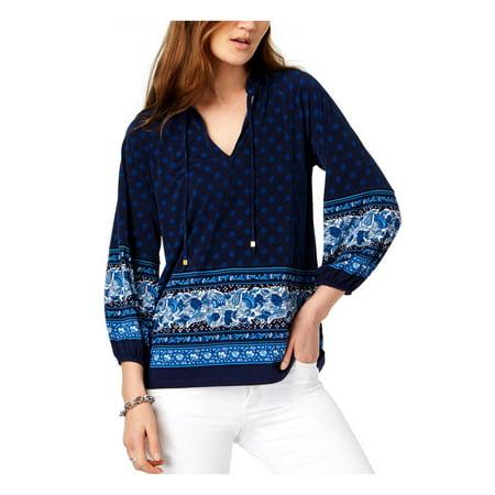 MICHAEL Michael Kors Womens Sunny Batik Printed Pullover Peplum -