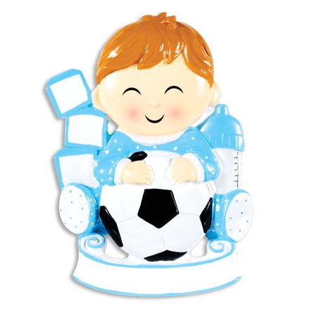 PERSONALIZED CHRISTMAS ORNAMENTS CHILD-FUTURE SOCCER STAR BOY -