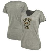 Missouri Tigers Fanatics Branded Women's Old School Seal Tri-Blend V-Neck T-Shirt - Heathered Gray