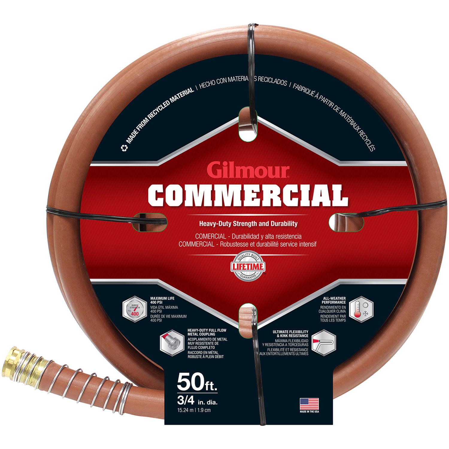 "Gilmour 25034050 50' x 3/4"" Red Rubber & Vinyl Commercial Hose"