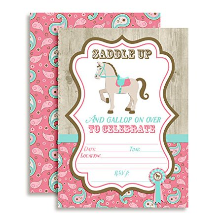 Horse Show Birthday Party Fill In Invitations Set Of 20 5 X