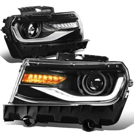 For 2014 to 2015 Chevy Camaro 3D LED DRL+Sequential Turn Signal Projector Headlight