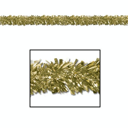 Gold China Garland (Set of 12 Festive Metallic Gold Foil Tinsel 6-Ply Christmas Garlands 15' - Unlit)