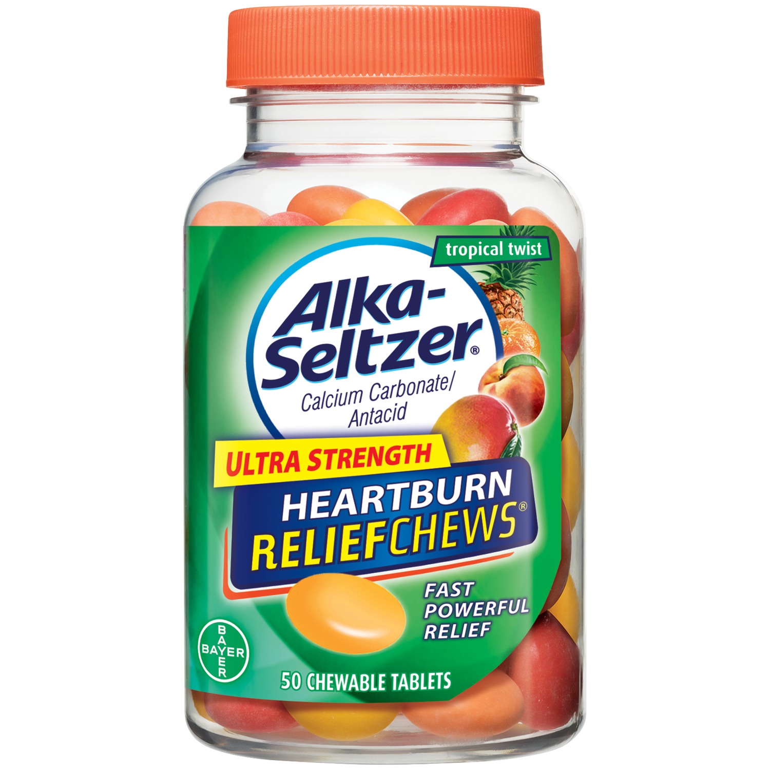 Alka-Seltzer Ultra Strength Heartburn Relief Chews Tropical Twist, 50 Count