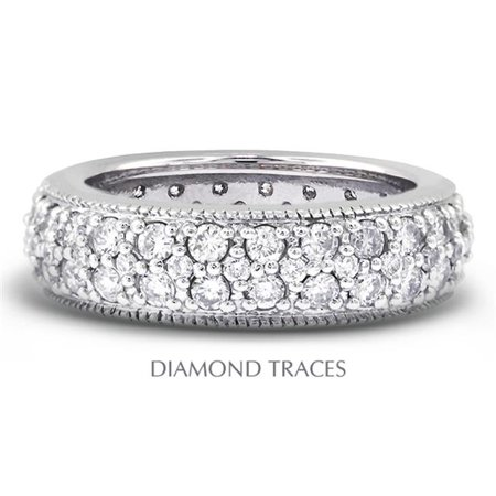 Diamond Traces UD-EWB357-4439 14K White Gold Pave Setting 1.76 Carat Total Natural Diamonds Two Row with Milgrain Eternity Ring 2 Row Pave Diamond