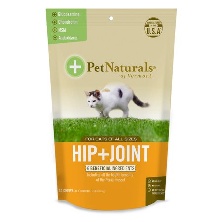 - Pet Naturals of Vermont Hip + Joint for Cats, Daily Hip and Joint Support Supplement, 30 Bite-Sized Chews