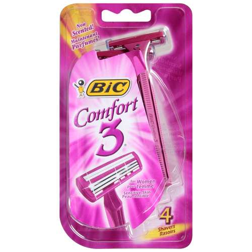 Bic Comfort 3 Triple Blade Shavers For Women With Sensitive Skin, Sc3Wp41 - 4 Ea