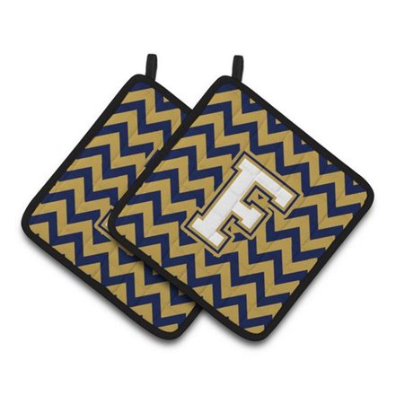 Carolines Treasures CJ1057-FPTHD Letter F Chevron Navy Blue & Gold Pair of Pot Holders, 7.5 x 3 x 7.5 in. - image 1 of 1