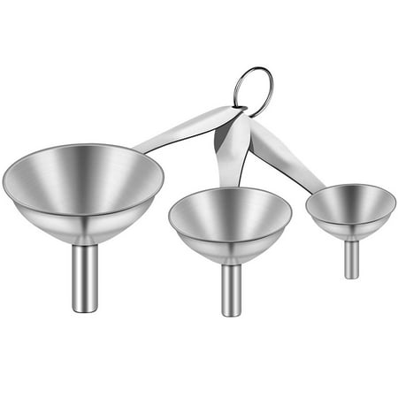 Set Of 3 Stainless Steel Funnels For Kitchen Small Funnel Kitchen Funnels Strainer With Metal Long Handle Tools For Transferring Fluid Liquid Oil Powder Walmart Canada