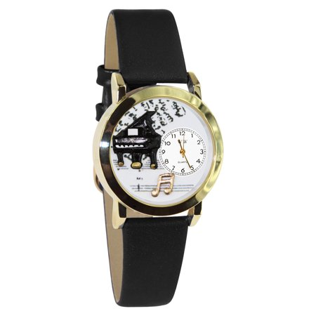 Whimsical Watches Kids C0510001 Classic Gold Music Piano Black Leather And Goldtone Watch